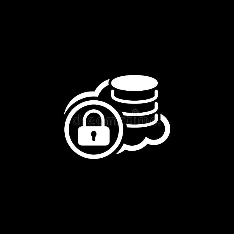 Безопасный значок хранения облака Плоский дизайн иллюстрация штока