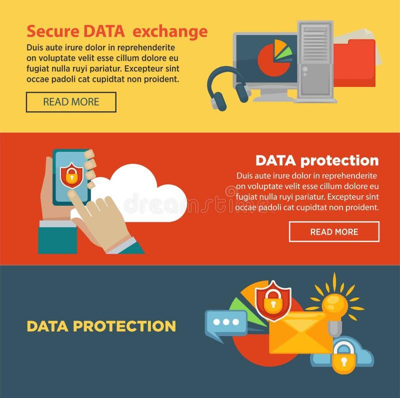 Безопасный обмен данными и защита программируют страницу интернета с информацией бесплатная иллюстрация