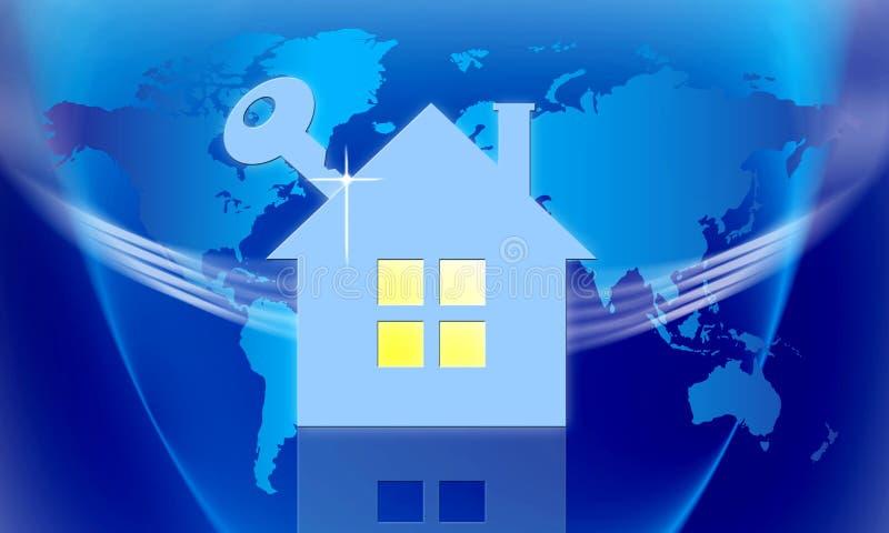 Безопасный дом и ключ иллюстрация вектора