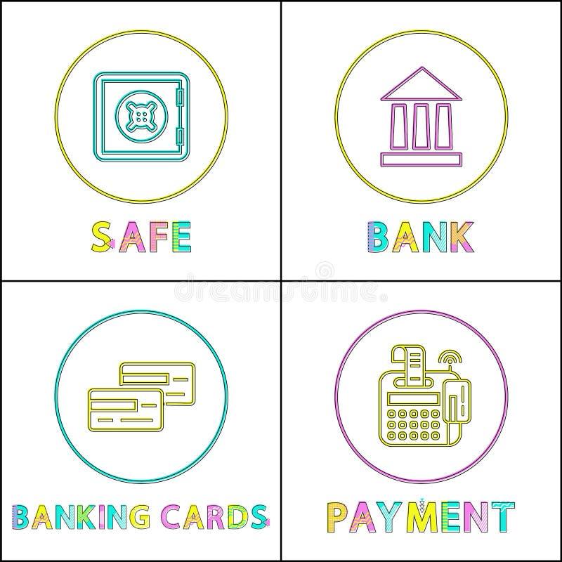 Безопасный онлайн банк вокруг линейного яркого набора значков иллюстрация штока