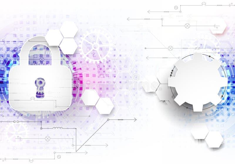 Безопасный цифровой космос Виртуальное конфиденциальное, conn пункта структуры иллюстрация штока