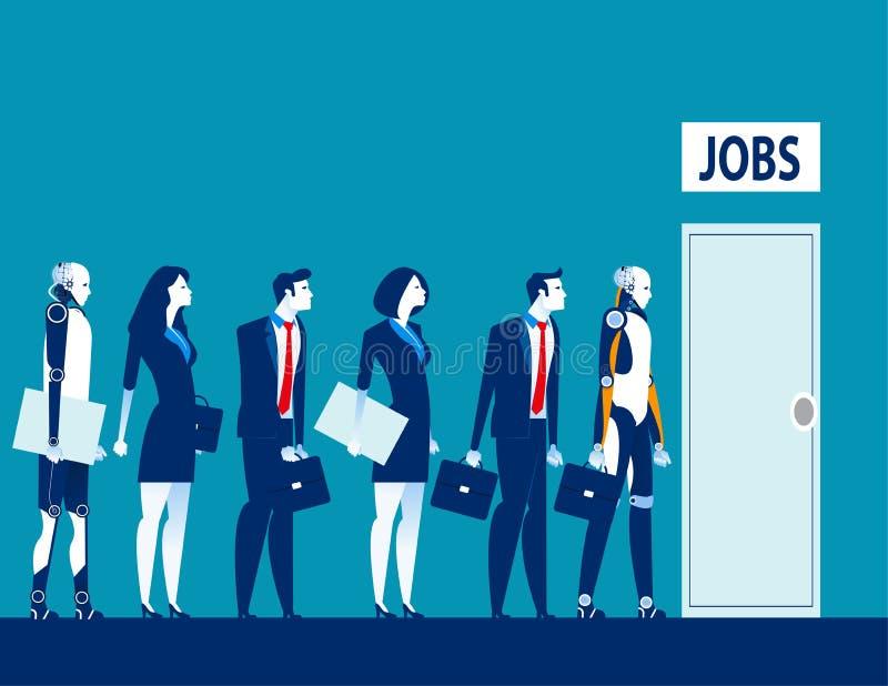 Безработица цифровой век Конкуренция технологии людей и робота для работ Технологическая революция дела концепции иллюстрация вектора