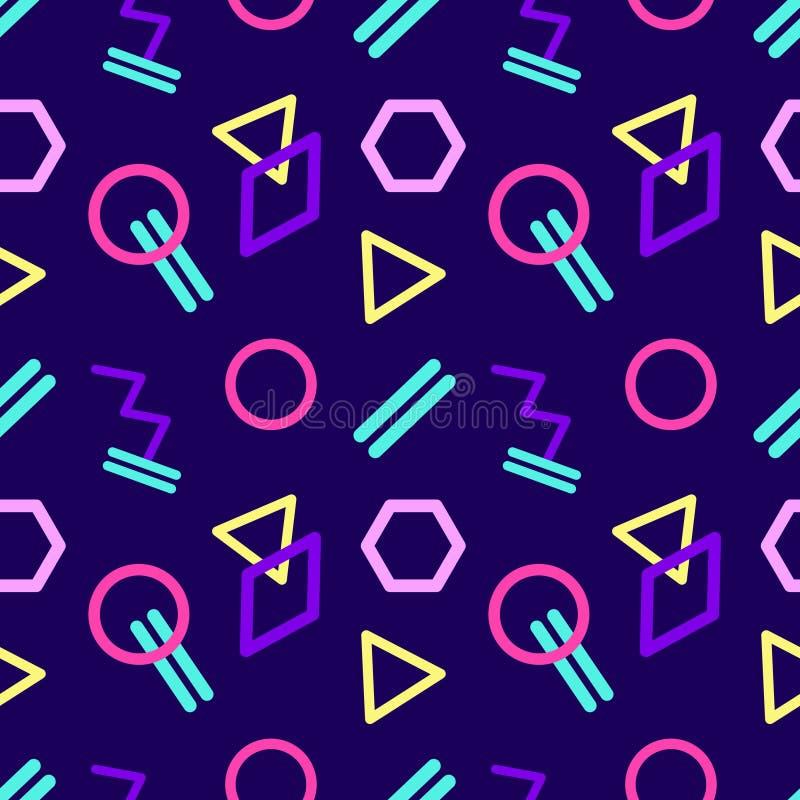 Безшовная абстрактная геометрическая картина в ретро стиле иллюстрация вектора