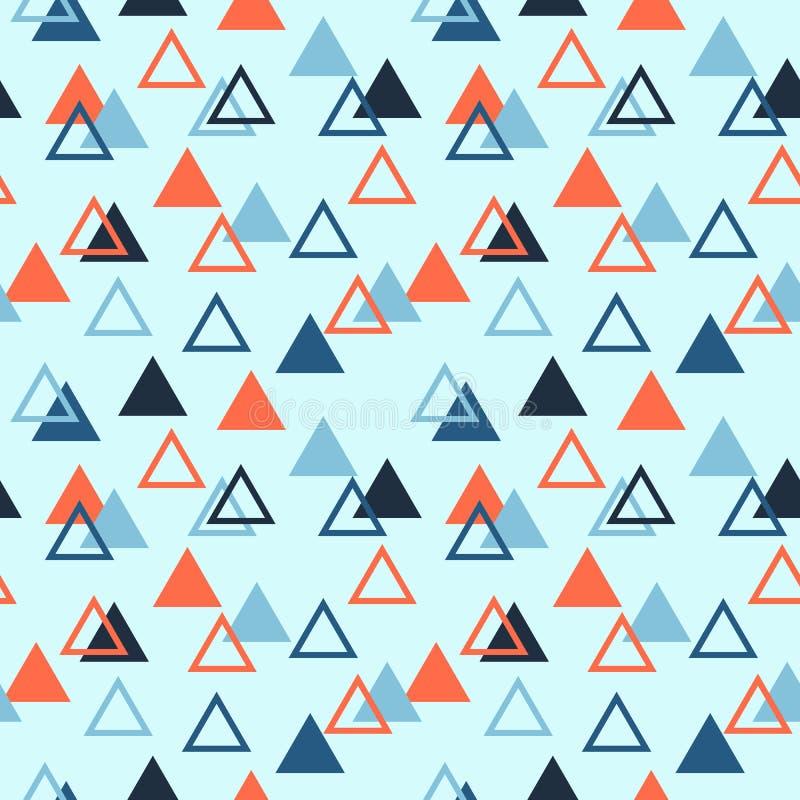 Безшовная абстрактная геометрическая картина при заполненные треугольники и опорожняет Апельсин, светлый и синий иллюстрация вектора