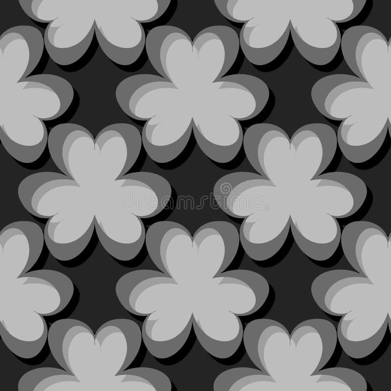 Безшовная абстрактная геометрическая картина 3d серый цвет предпосылки черный иллюстрация вектора