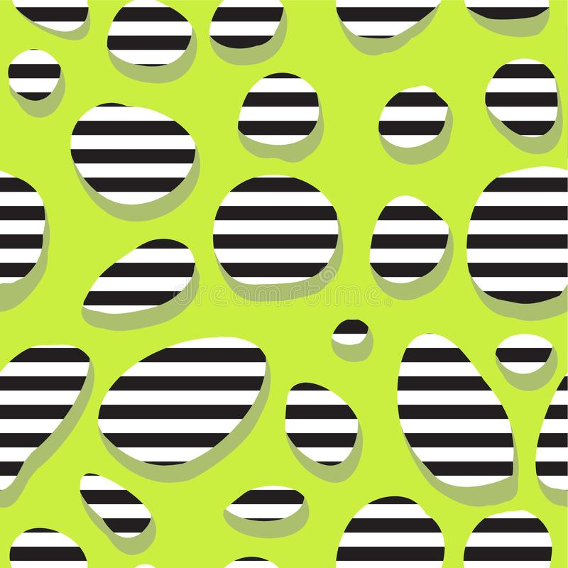 Безшовная абстрактная зеленая картина с нашивками в отверстиях иллюстрация штока