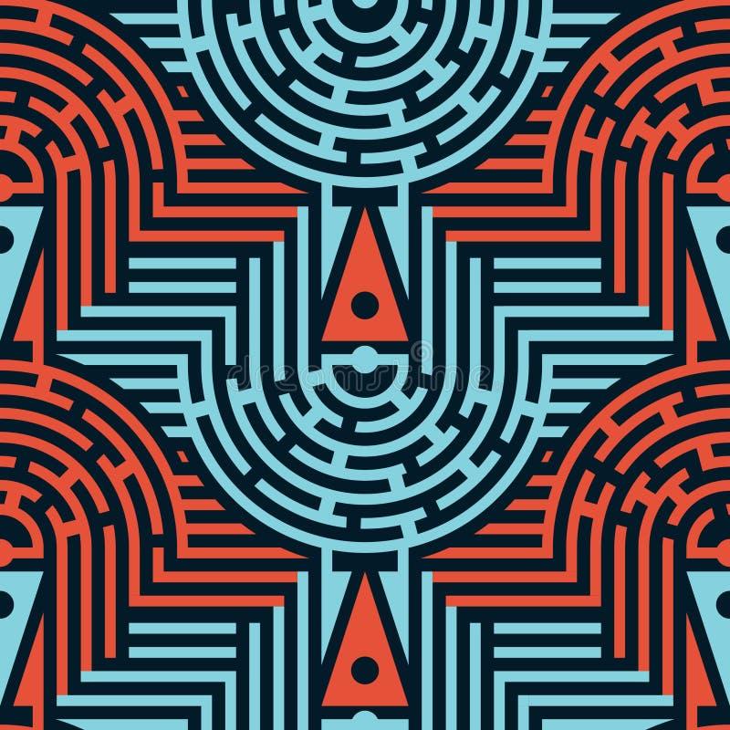 Безшовная абстрактная картина лабиринта в голубых и красных цветах иллюстрация вектора