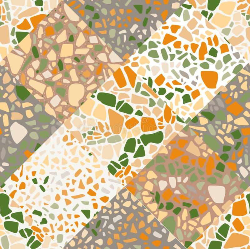 Безшовная абстрактная картина в стиле terrazzo Уникальная предпосылка заплатки бесплатная иллюстрация