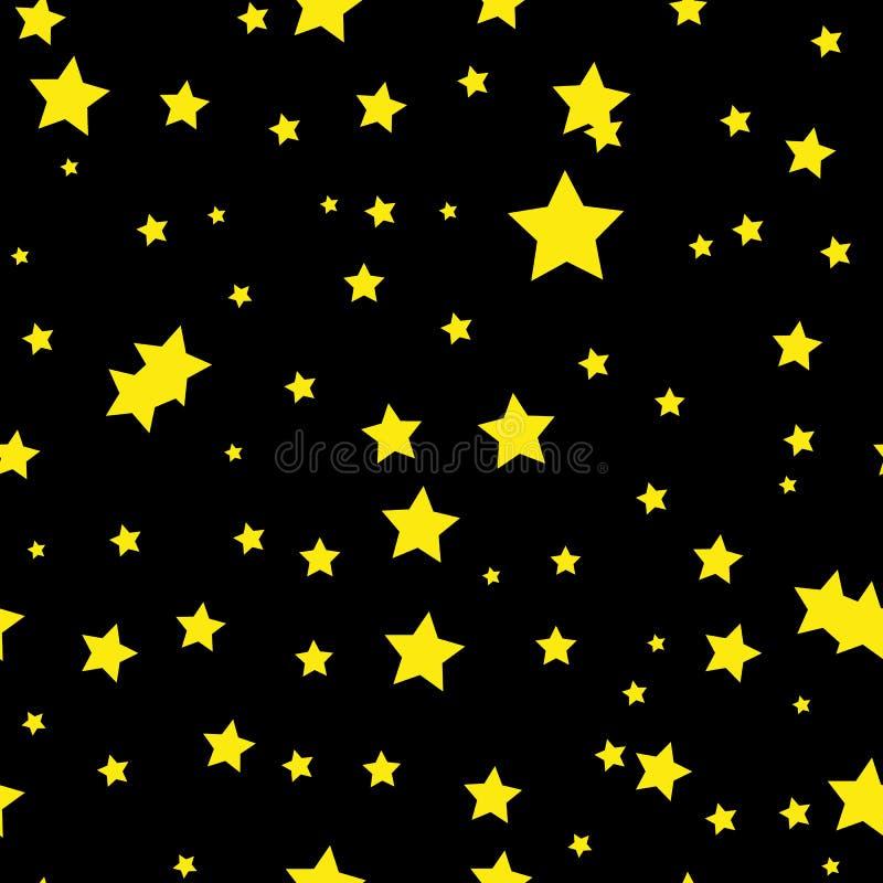 Безшовная абстрактная картина с маленькими затрапезными острыми желтыми звездами на черной предпосылке вектор иллюстрации hallowe бесплатная иллюстрация