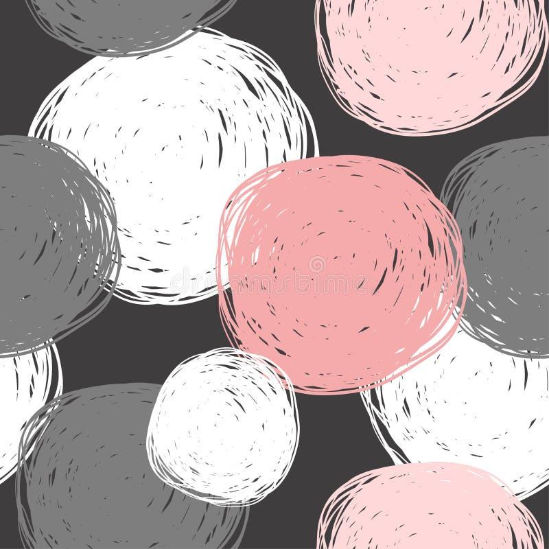 Безшовная абстрактная картина с нарисованными вручную кругами иллюстрация штока