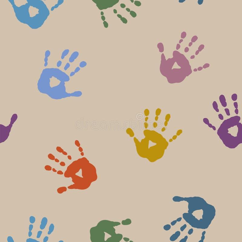 Download Безшовная абстрактная картина с печатями рук ` S детей Иллюстрация вектора - иллюстрации насчитывающей конструкция, план: 81815268