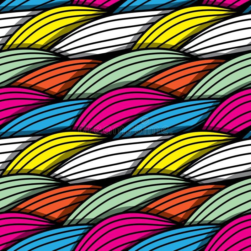 Безшовная абстрактная нарисованная вручную картина волн иллюстрация штока