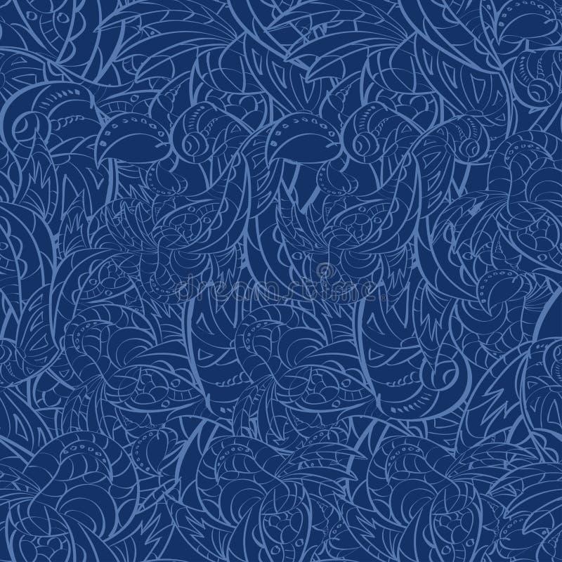 Безшовная абстрактная нарисованная вручную картина листьев. Безшовная картина c иллюстрация штока