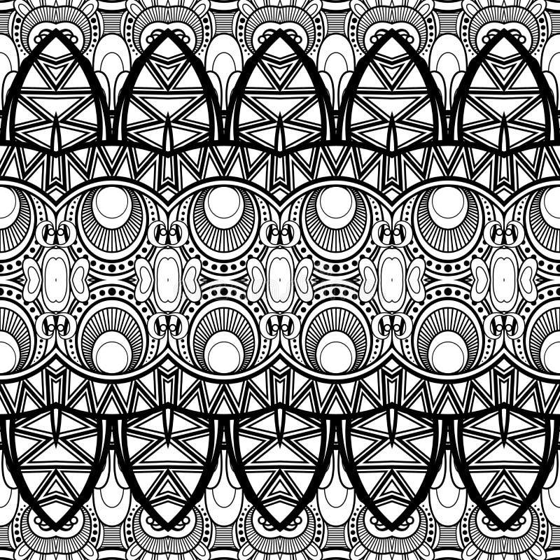 Безшовная абстрактная племенная картина (вектор) иллюстрация штока