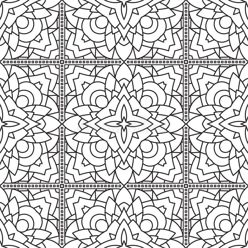 Безшовная абстрактная племенная Черно-белая картина в Mono линии стиле бесплатная иллюстрация