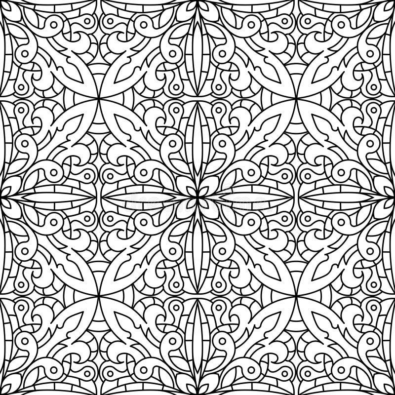 Безшовная абстрактная племенная Черно-белая картина в Mono линии стиле иллюстрация штока