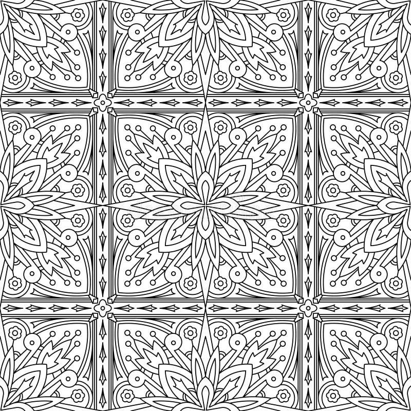 Безшовная абстрактная племенная Черно-белая картина в Mono линии стиле иллюстрация вектора