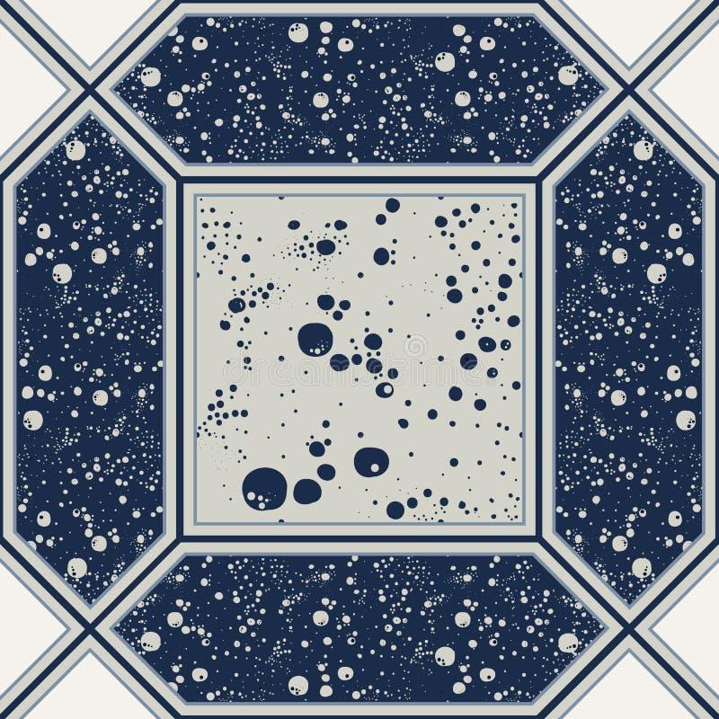 Безшовная абстрактная плитка в сини иллюстрация штока