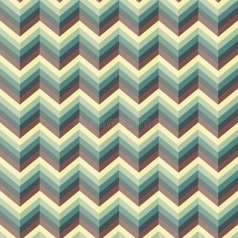 Безшовная абстрактная ретро картина Геометрическая печать зигзага составленная линий голубых, желтых, коричневых цветов зигзага иллюстрация штока