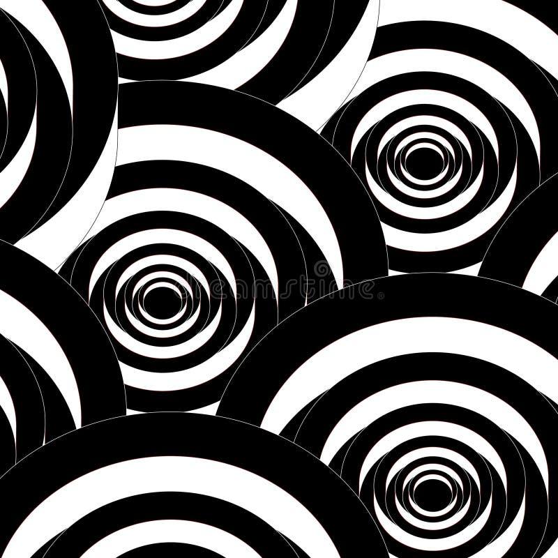 Безшовная абстрактная спиральная черно-белая картина бесплатная иллюстрация