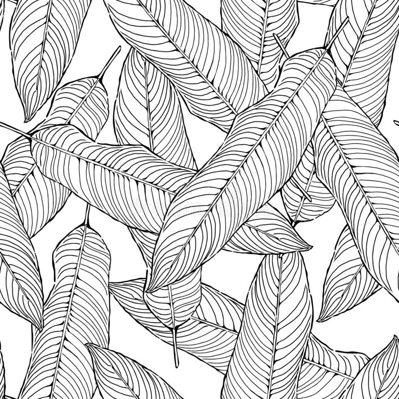 Безшовная абстрактная черно-белая картина листьев, vecto листвы, предпосылка иллюстрации бесплатная иллюстрация