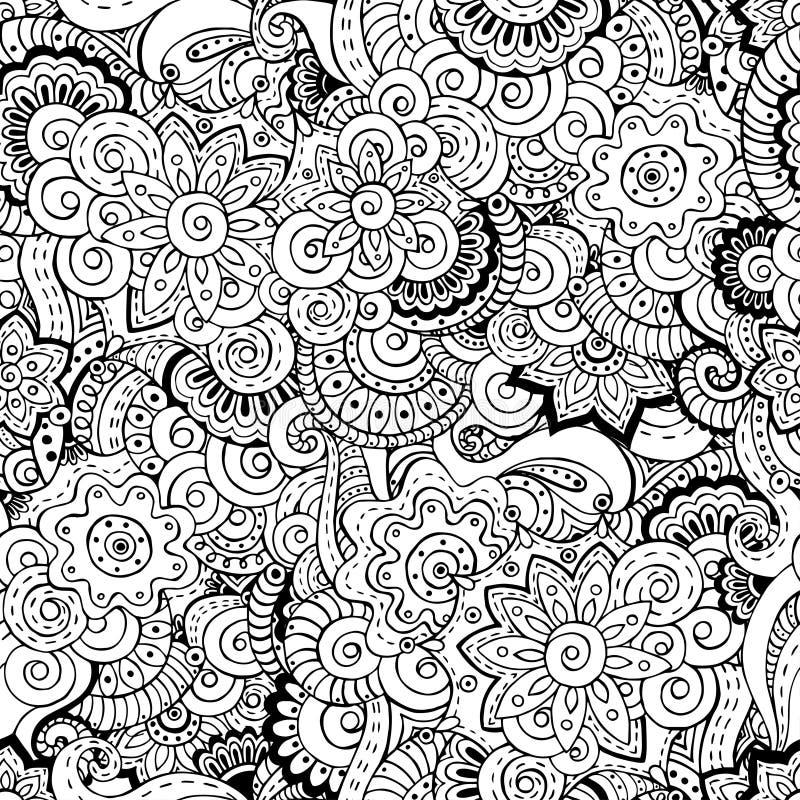 Безшовная азиатская флористическая ретро картина предпосылки иллюстрация вектора