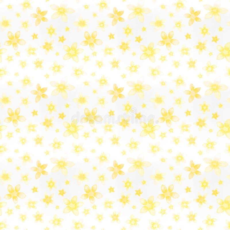 Безшовная акварель картины покрасила желтые небольшие цветки иллюстрация вектора