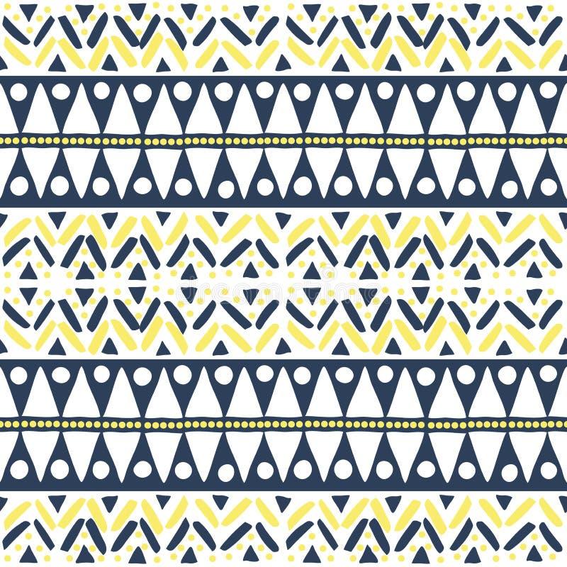 Безшовная африканская картина голубых и желтых цветов на белом основании иллюстрация вектора