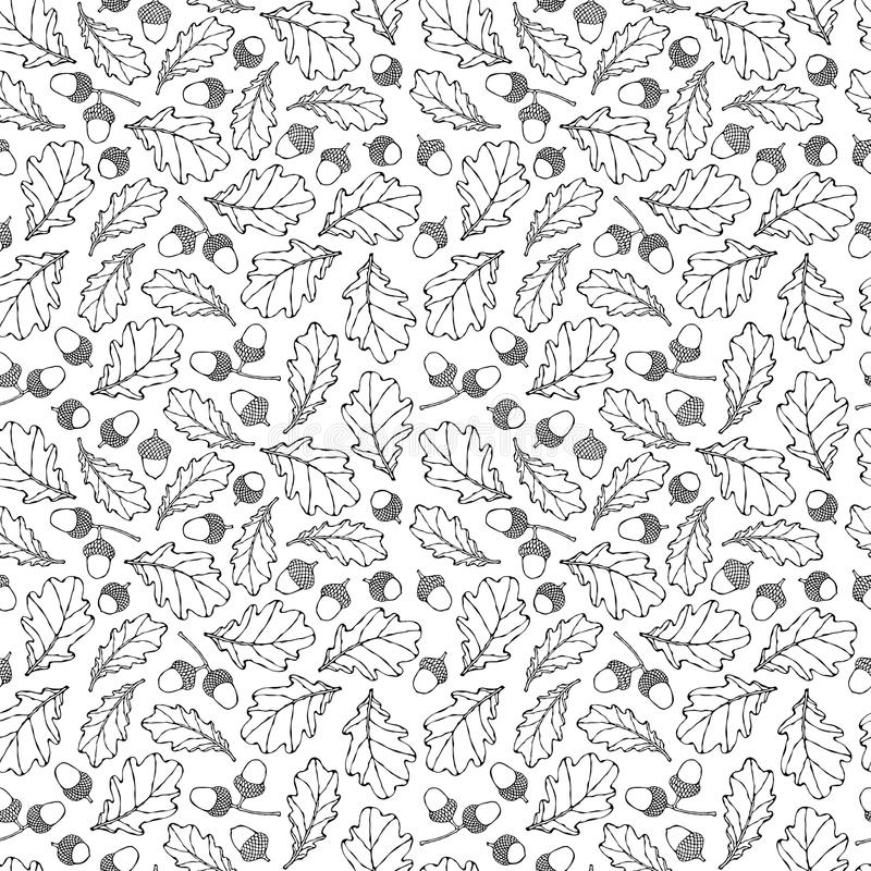 Безшовная бесконечная картина листьев и жолудей дуба желтый цвет померанцового красного цвета Осень или собрание сбора падения Ре бесплатная иллюстрация