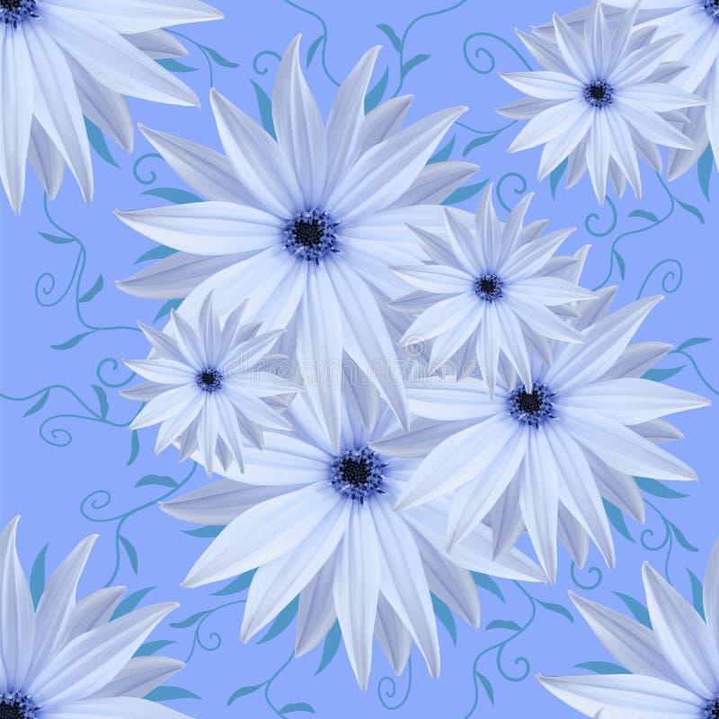 Безшовная бесконечная предпосылка флористическая голубые цветки белые для дизайна и печатания Предпосылка естественных цветков стоковое фото rf