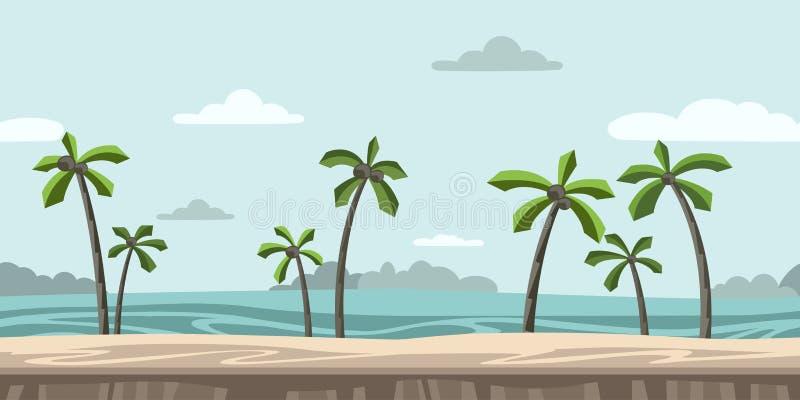 Безшовная бесконечная предпосылка для видеоигры Песчаный пляж с пальмами и облаками в голубом небе вектор бесплатная иллюстрация