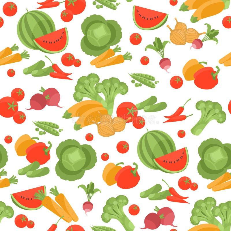 Безшовная вегетарианская картина вектора на белой предпосылке иллюстрация штока