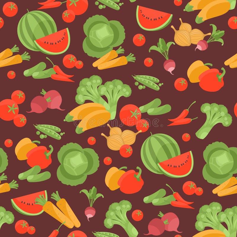 Безшовная вегетарианская картина с овощами иллюстрация штока
