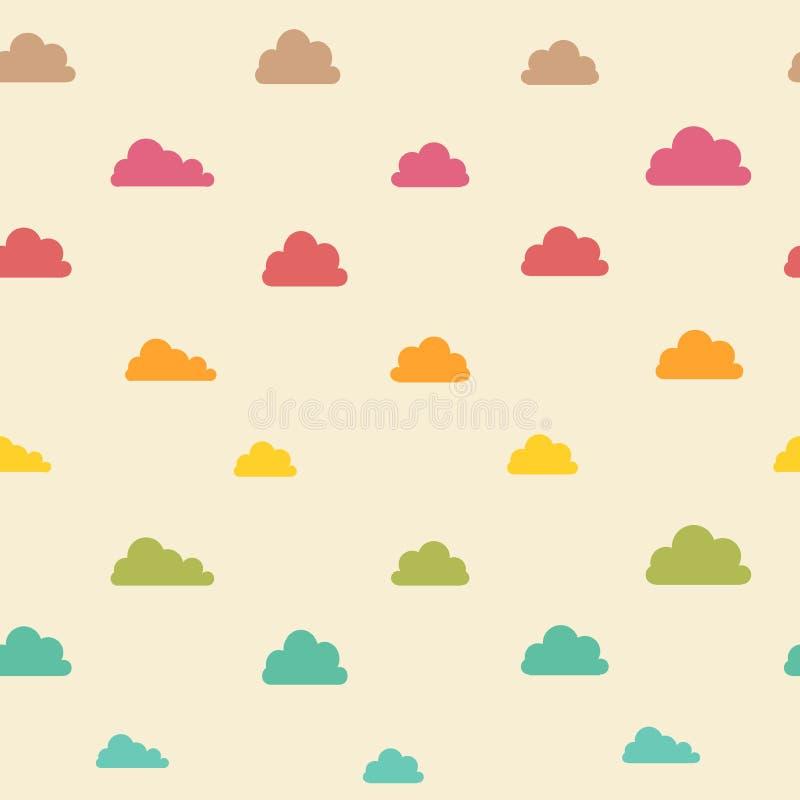 Безшовная винтажная бежевая красочная картина облаков бесплатная иллюстрация