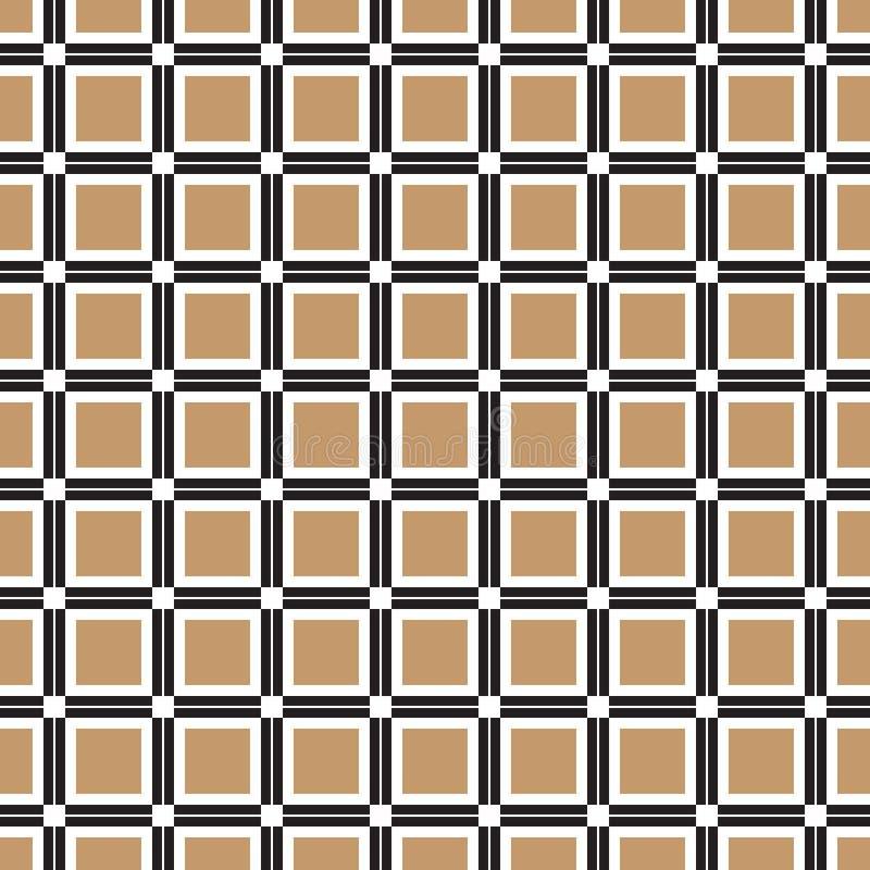 Безшовная винтажная геометрическая квадратная картина косоугольника в черноте и золоте иллюстрация вектора
