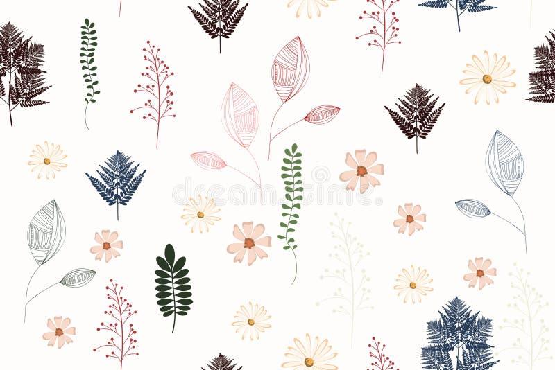 Безшовная винтажная картина предпосылки с листьями осени, цветками, папоротником и травами иллюстрация штока
