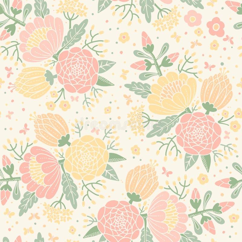 Безшовная винтажная картина с декоративными цветками. бесплатная иллюстрация