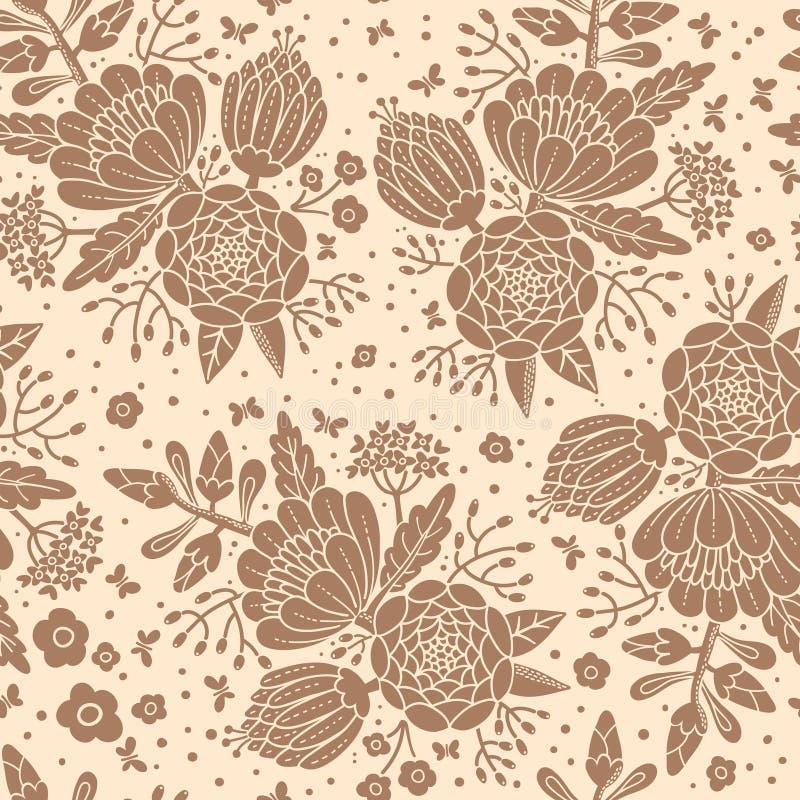 Безшовная винтажная картина с декоративными цветками иллюстрация вектора