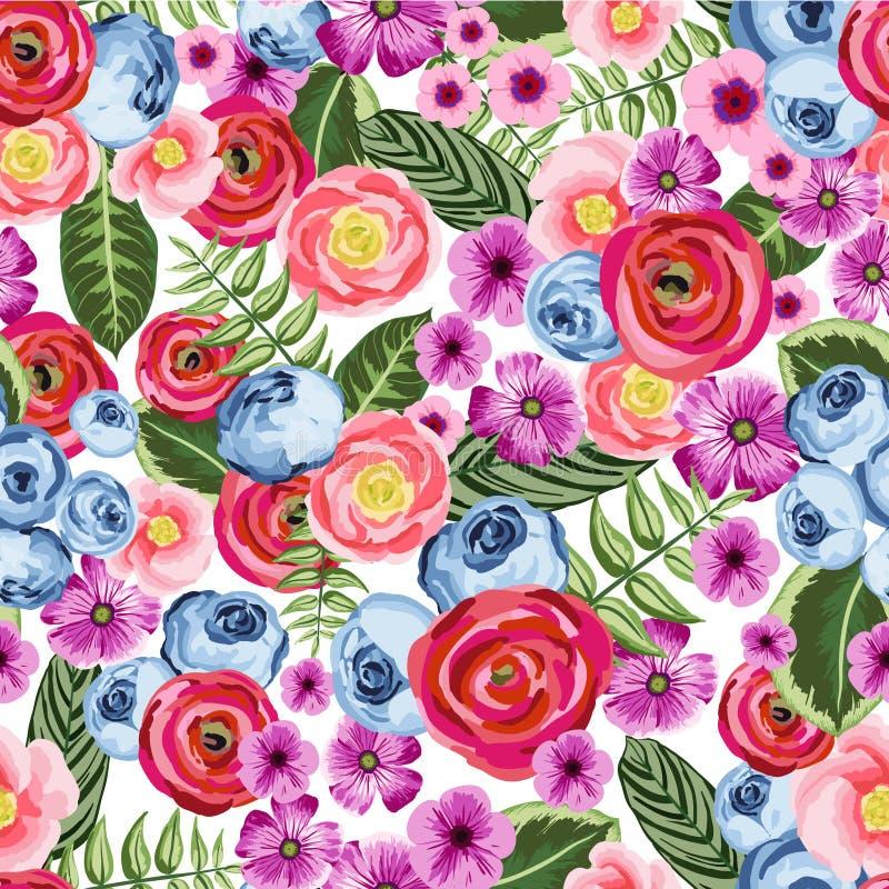 Безшовная винтажная картина с покрашенным цветком иллюстрация вектора