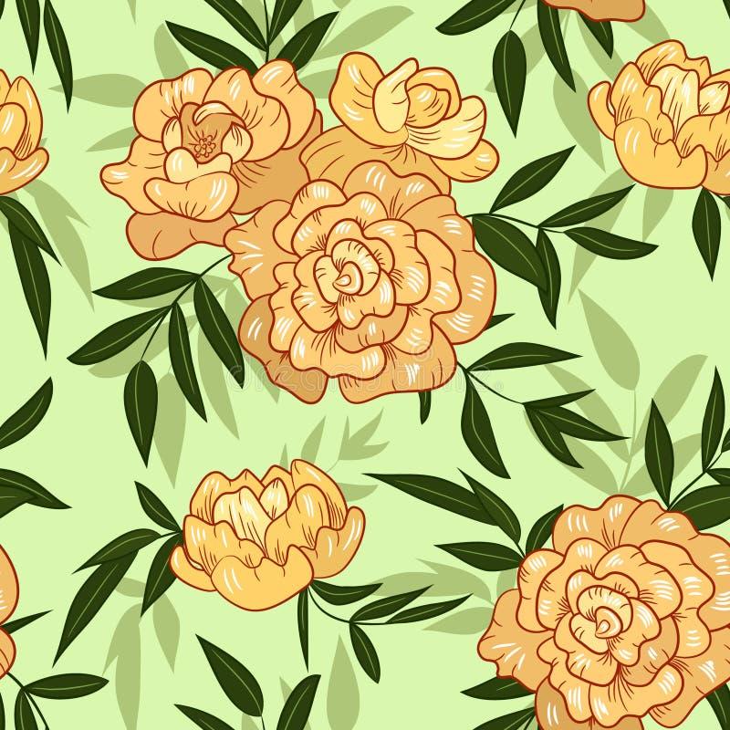 Безшовная винтажная картина цветка пиона персика весны иллюстрация штока