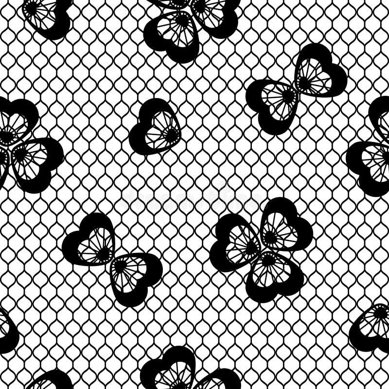 Безшовная винтажная картина шнурка, черно-белая иллюстрация штока