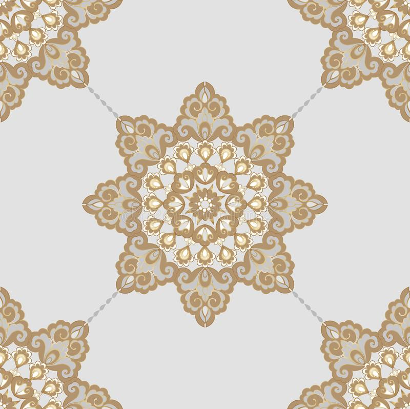 Безшовная восточная картина в стиле барокк Традиционный классический орнамент вектора Декоративный фон орнамента для бесплатная иллюстрация