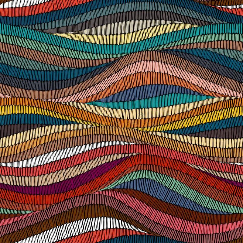 Безшовная вышитая картина Волнистая богемская печать Заплатка оранжевая иллюстрация вектора