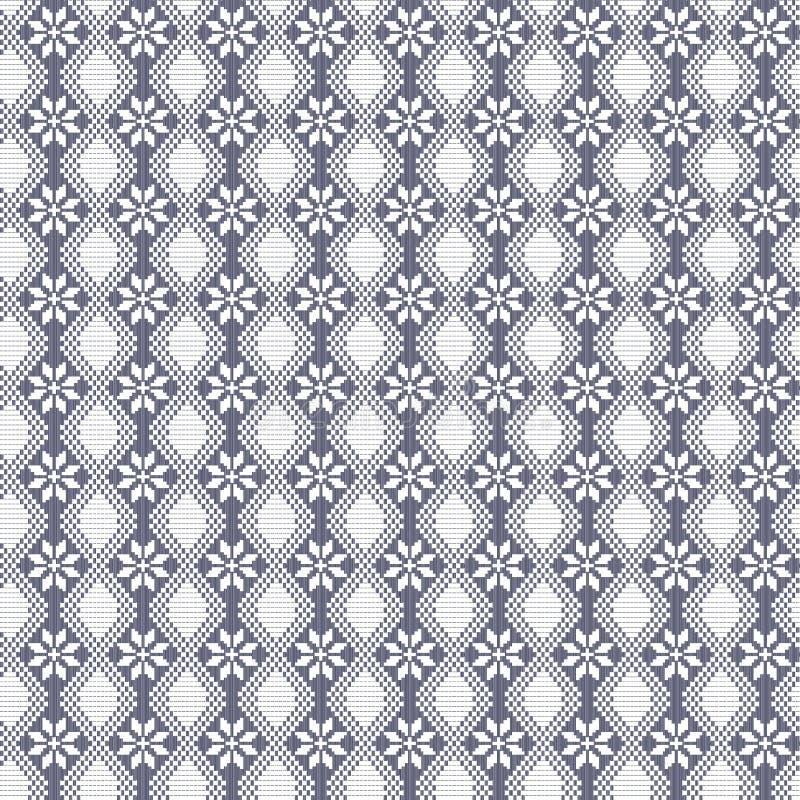 Безшовная вышитая картина цветеня флоры вектора декоративная в стиле традиционного как handmade перекрестный стежок этнический иллюстрация вектора