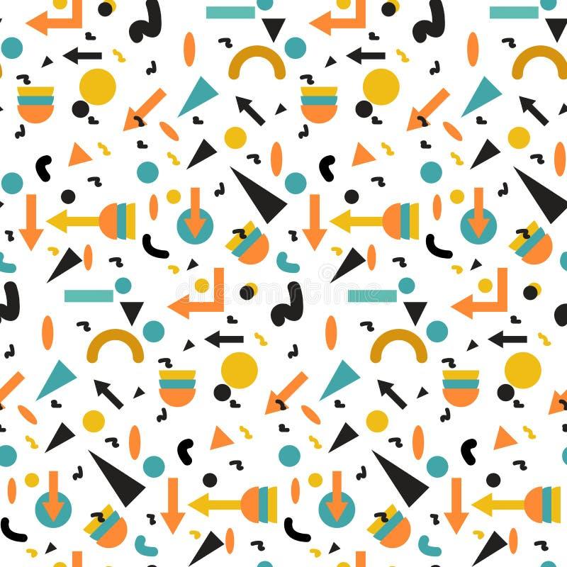 Безшовная геометрическая винтажная картина в ретро стиле 80s, Мемфис для дизайна ткани, бумажный фон печати и вебсайта бесплатная иллюстрация