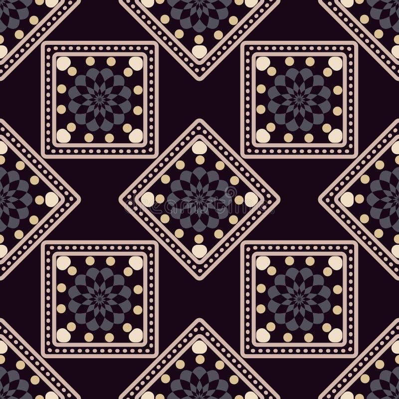 Безшовная геометрическая картина, бежевые квадраты и косоугольники на темной предпосылке иллюстрация штока