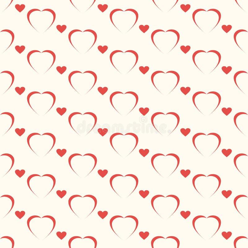 Безшовная геометрическая картина, красный Харт на белой предпосылке, stripes абстрактный шаблон, иллюстрация вектора бесплатная иллюстрация