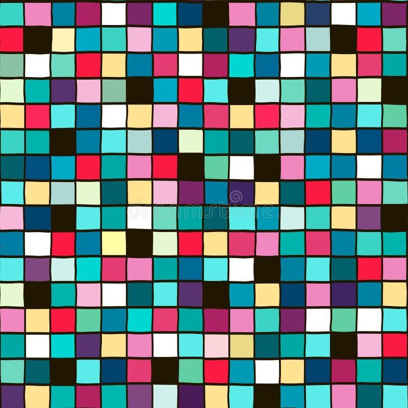 Безшовная геометрическая картина от квадратов покрашенных вручную иллюстрация вектора