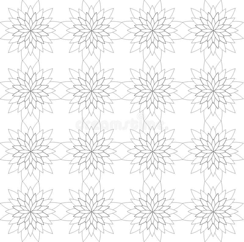 Безшовная геометрическая картина, состоя из цветет в черно-белом иллюстрация штока