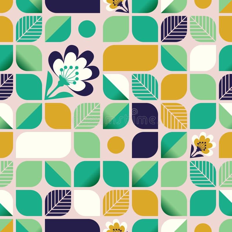 Безшовная геометрическая картина с листьями и цветками иллюстрация вектора